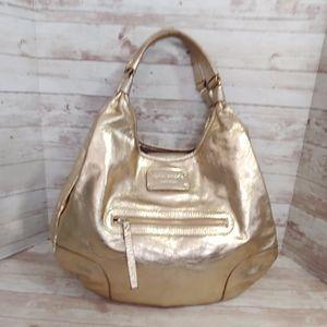 Kate Spade vtg gold leather hobo handbag